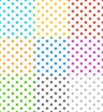 Set of 9 seamlessly repeatable polka dots patterns Stock Photo