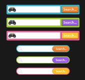 Set of search design icons in bars or icons for graphic user interface stock illustration