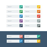 Set of search flat design icons in colorful bars Stock Photography