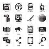 Set of Search, Tablet, Chat, Newspaper, Open book, Pencil, User, Smartphone, Browser icons. Set Of 16 simple  icons such as Search, Tablet, Share, Chat, Cassette Royalty Free Stock Photo