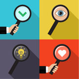 Set of searching concepts. Searching a love, idea, symbol of check and eye. Flat vector illustration Stock Photos