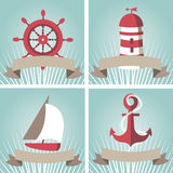 Set of seascape with nautical elements Stock Photography