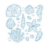 Set seashell, coral, seahorse, starfish and rocks isolated on white background. Hand drawn style. Art vector illustration Stock Images