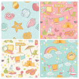 Set of Seaside and Summer Background Royalty Free Stock Photos