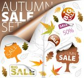 Set of season (fall) tickets and sale labels Stock Photos