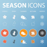 Set of season icons in flat design outline and long shadow .Vector Royalty Free Stock Photo