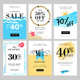 Set of season sale banner templates. Vector illustrations for website and mobile website banners, posters, email and newsletter designs, ads, coupons Stock Photo