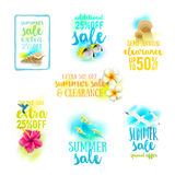 Set of season sale designs. Summer holidays and vacation illustration Royalty Free Stock Photography