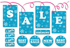 Set of season sale labels and symbols. (with snowflakes Royalty Free Stock Photo