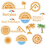 Set of season summer emblems, design elements Royalty Free Stock Images