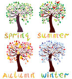 Set of season trees in childish style Royalty Free Stock Photography