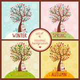 Set of 4 seasonal backgrounds with tree. Royalty Free Stock Photography