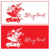 Set of Seasonal cards with small and cute retro travel car with Royalty Free Stock Photography
