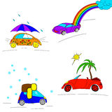 Set of seasonal cars Royalty Free Stock Images