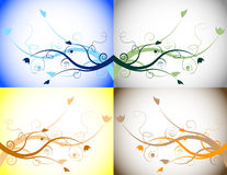 Set of Seasonal Floral Backgrounds. Set of Floral Elements Depicting all Four Seasons Royalty Free Stock Photography