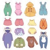 Set of seasonal infant clothes for kids babyish fashion infantile puerile cloth vector illustration. Set of seasonal infant clothes for kids babyish fashion stock illustration