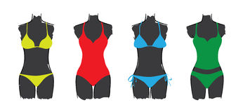 Set of seasonal ladies swimsuits Stock Images