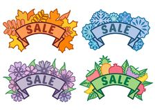 Set of seasonal sale signs, autumn, winter, spring, summer sale sign on ribbon without background, collection of. Discount footer and banner, vector stock illustration