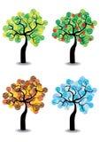 Set of seasonal trees Royalty Free Stock Images