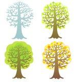 Set of seasonal trees isolated on the white Stock Photos