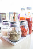 Set of seasoning and sauce bottles Royalty Free Stock Photography