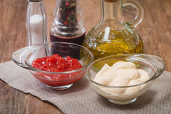 Set of seasoning and sauces Royalty Free Stock Photo