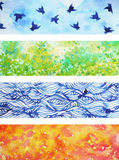 Set of 4 seasons background watercolor painting design illustration Royalty Free Stock Image