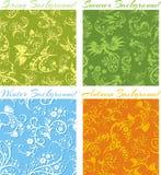Set of Seasons backgrounds - vector 3D seamless vector illustration