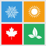 Set of seasons icons, winter, spring, summer, autumn. Vector illustration Stock Photo