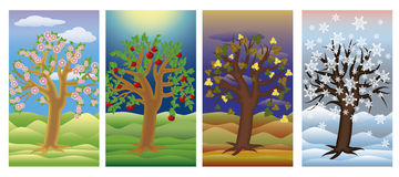 Set seasons tree banners, vector Stock Image