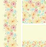 Set of seaweed plants seamless pattern and borders Stock Photo