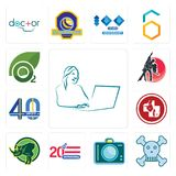 Set of secretary, skull and crossbones, dslr, 20 anniversary, rhino, veterinary medicine, 40 years, dance studio, oxygen icons. Set Of 13 simple  icons such as Stock Photo
