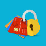 Set of secure credit card Royalty Free Stock Image