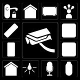 Set of Security camera, Power, Voice control, Light, Smart home, Dimmer, Mobile phone, Plug, Remote, editable icon pack royalty free illustration