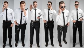 Set with security guard. On light background royalty free stock photography