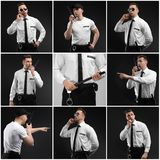 Set with security guard. On dark background royalty free stock images
