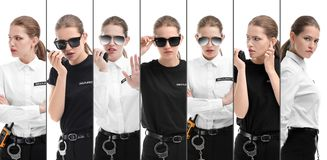 Set with security guard. On white background stock photography