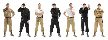 Set with security guard. On white background royalty free stock image