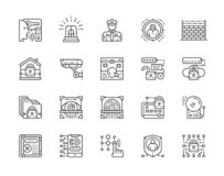 Set of Security Services Line Icons. Police, Protection, Cryptography and more. vector illustration