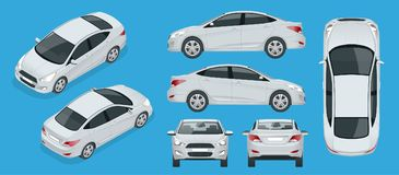 Set of Sedan Cars. Compact Hybrid Vehicle. Eco-friendly hi-tech auto. Isolated car, template for branding, advertising. Front, rear , side, top and isometry vector illustration