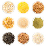 A set of seed on glass bowl isolated. On white Stock Photo
