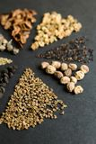 Set of seeds on a black background, vertical, selective focus royalty free stock images