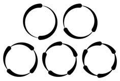 Set of segmented circles. 2,3,4,5,6 segments. Contour circles. Royalty Free Stock Images