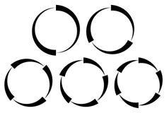 Set of segmented circles. 2,3,4,5,6 segments. Contour circles. Royalty Free Stock Image