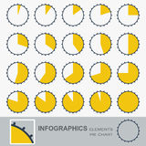 Set of the segmented, circular charts with notches Royalty Free Stock Photography