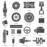 Set Selbstersatzteile Autoreparaturikonen in der Ebene Stockfotografie