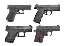 Set of semi automatic 9 m.m handgun pistol isolated on white. Background Royalty Free Stock Images