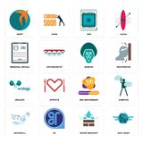 Set of semi truck, water resistant, waterfall, 3rd anniversary, urology, baboon, personal details, sem, swift icons. Set Of 16 simple editable icons such as semi Royalty Free Stock Images