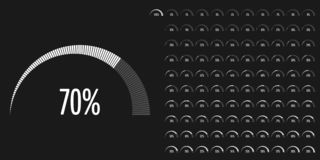 Set of semicircle percentage diagrams from 0 to 100. Set of semicircle percentage diagrams meters from 0 to 100 ready-to-use for web design, user interface UI or stock illustration