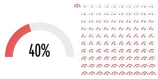 Set of semicircle percentage diagrams from 0 to 100. Ready-to-use for web design, user interface UI or infographic - indicator with red Vector Illustration
